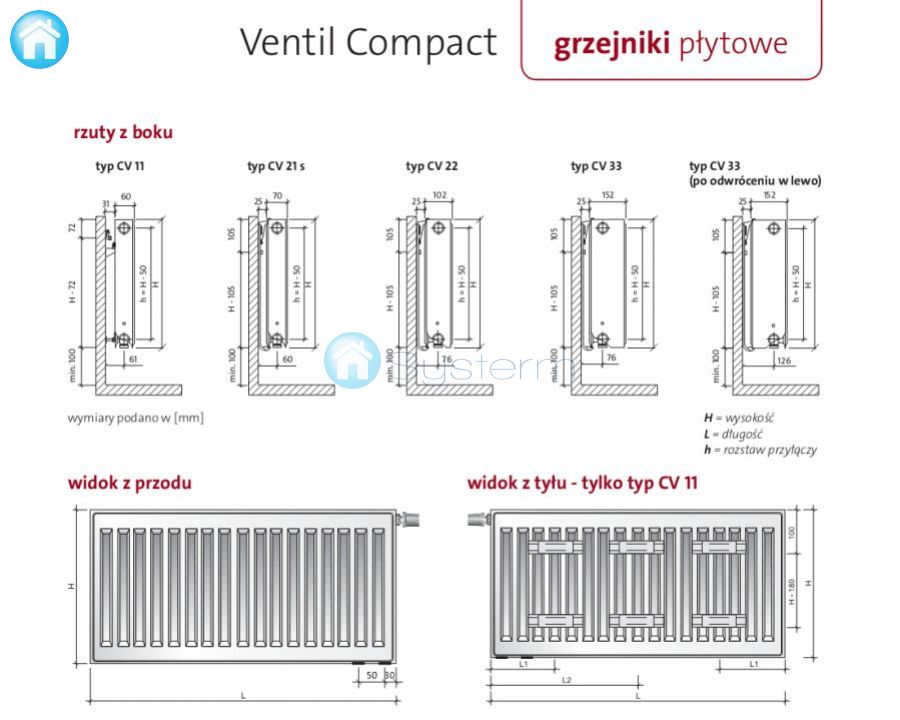 grzejnik p ytowy purmo ventil compact cv33 600x1200 2827 w. Black Bedroom Furniture Sets. Home Design Ideas